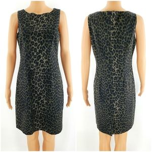 Ann Taylor Petite 6P Lined Dress Brown Leopard
